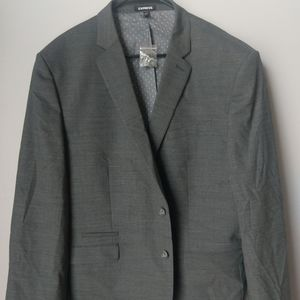 Express NWT gray fine plaid blazer